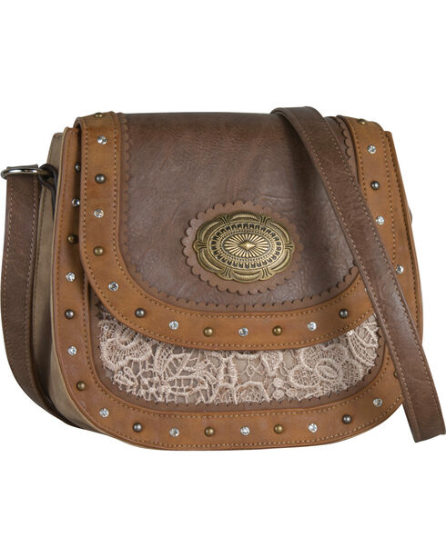 Justin Women's Tan Saddle & Lace Crossbody Bag , Tan, hi-res
