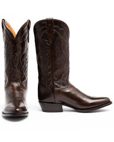 El Dorado Men's Handmade Antique Walnut Calfskin Cowboy Boots - Round Toe, Brown, hi-res
