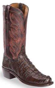Lucchese Men's Handmade Landon Caiman Tail Cowboy Boots - Narrow Square Toe, Barrel Brn, hi-res