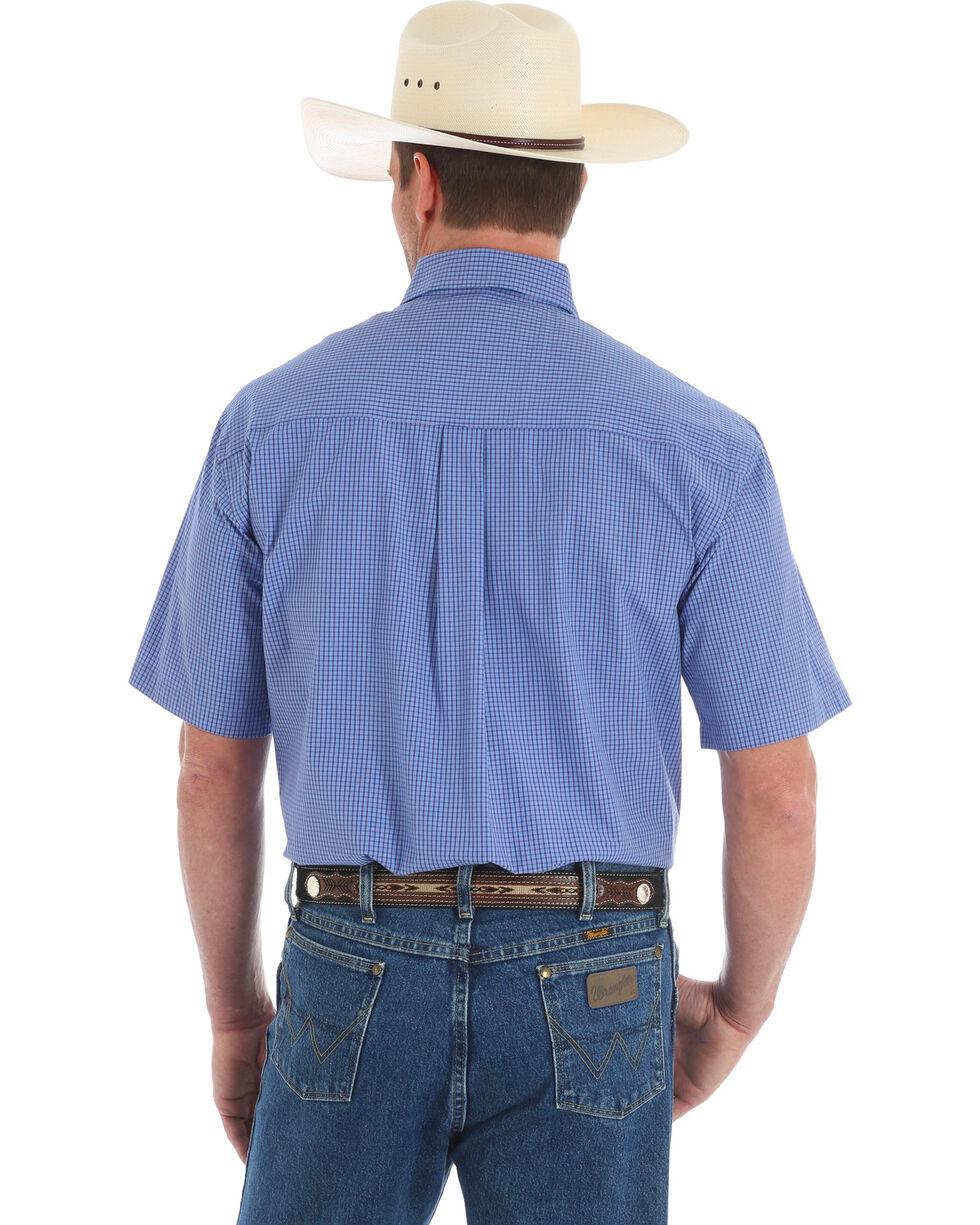 Wrangler George Strait Men's Blue Check Short Sleeve Shirt, Blue, hi-res