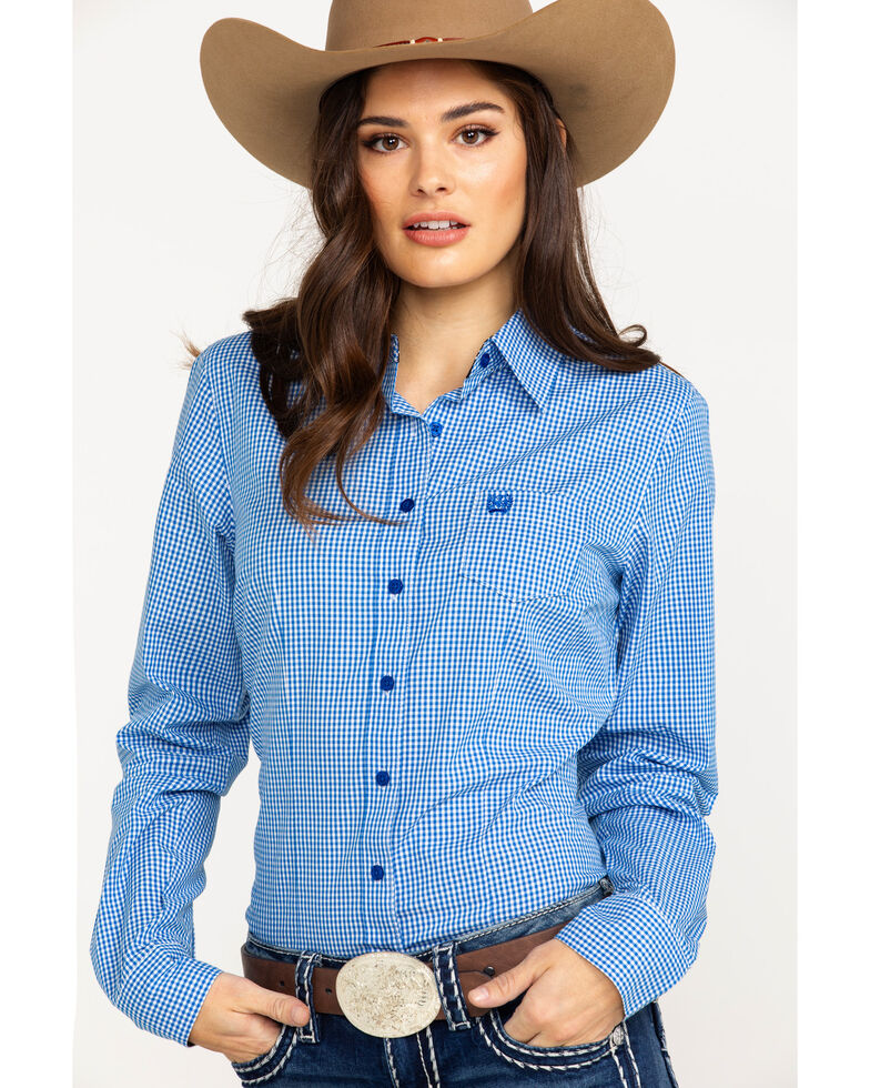45ca4039 Zoomed Image Cinch Women's Small Plaid Logo Button Front Long Sleeve  Western Shirt , Royal Blue, hi