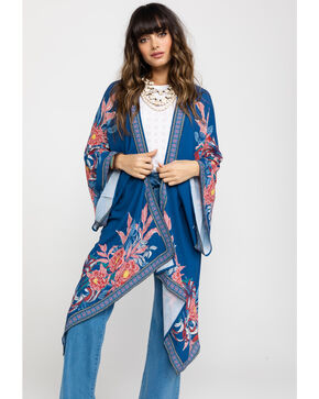 Flying Tomato Women's Big Floral Cascading Kimono Duster, Blue, hi-res