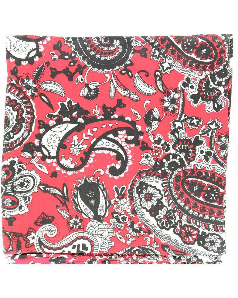 Red & Black Paisley Silk Wild Rag, Red, hi-res