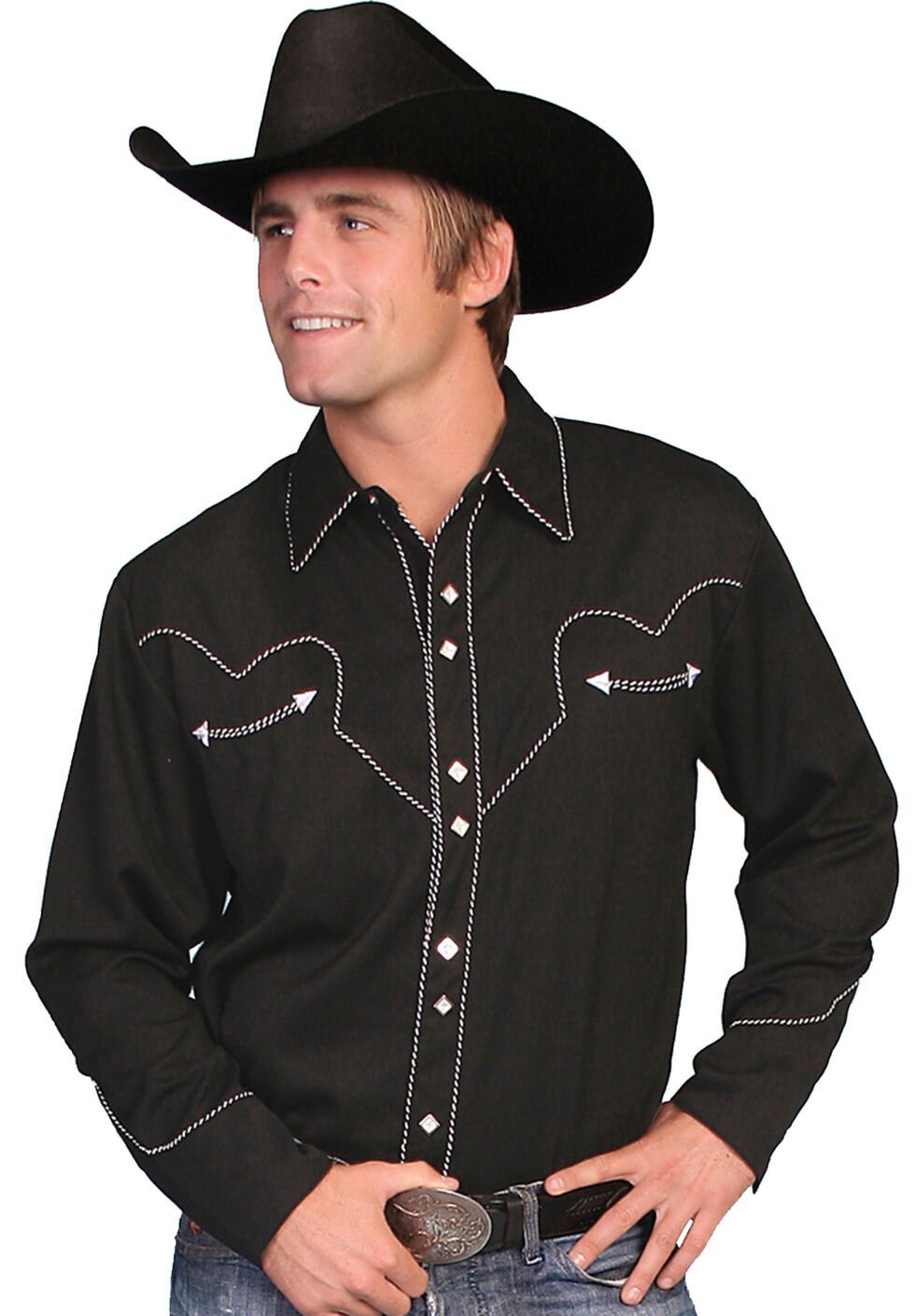 Scully White Retro Western Shirt - Big, Black, hi-res