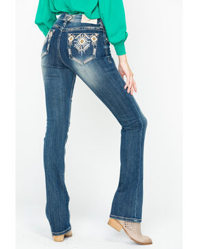 Grace In LA Women's Diamond Embroidered Pocket Boot Jeans , Indigo, hi-res