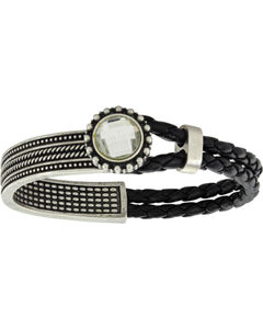 Montana Silversmiths Women's Roped Crystal Flower Lassoed Bangle Attitude Bracelet, Silver, hi-res