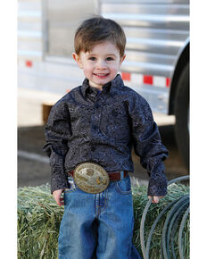 Cinch Toddler Boys' Black Paisley Print Long Sleeve Western Shirt , Black, hi-res