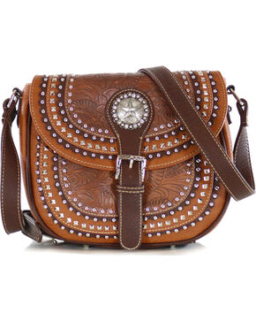 Shyanne Women's Embellished Star Concho Saddlebag, Brown, hi-res