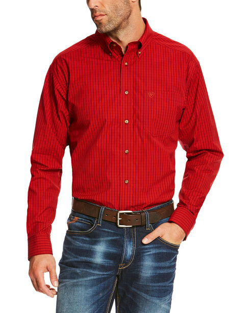 Ariat Men's Ruby Sandberg Plaid Button Up Pro Shirt , Ruby, hi-res