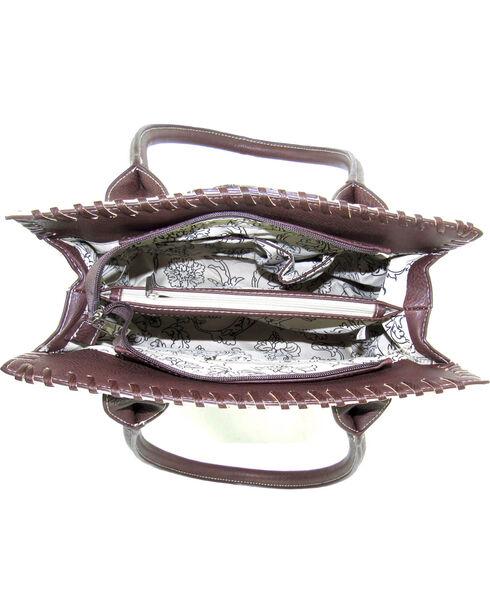 Savana Women's Ivory Tooled Whipstitch Tote, Ivory, hi-res