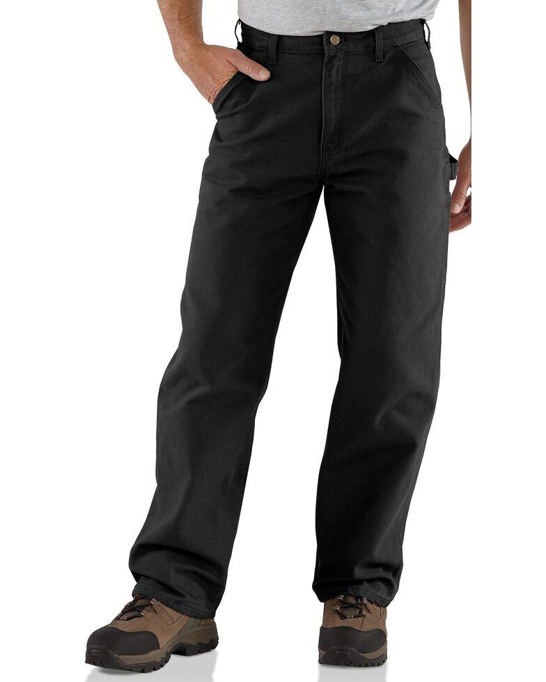 Carhartt Weathered Duck Dungaree Fit Khaki Work Pants, Black, hi-res