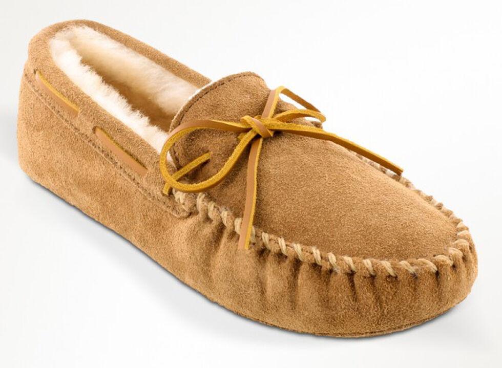 Minnetonka Men's Sheepskin Softsole Moccasins - Extended Sizes, Tan, hi-res