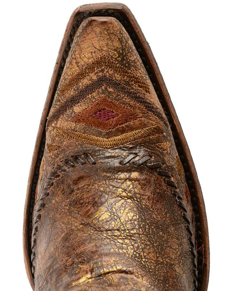 Corral Aztec Embroidered Whipstitched Cowgirl Boots - Snip Toe, Cognac, hi-res