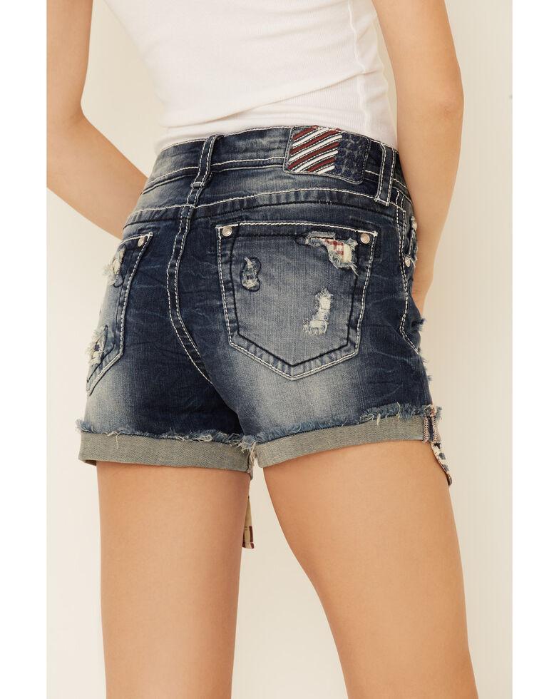 Grace in LA Women's Americana Peak Pocket Shorts, Blue, hi-res