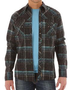 Wrangler Retro Men's Long Sleeve Black Plaid Snap Shirt - Tall, Black, hi-res