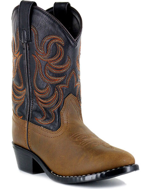 Cody James Youth Boys' Embroidered Two Toned Western Boots - Round Toe, Brown, hi-res