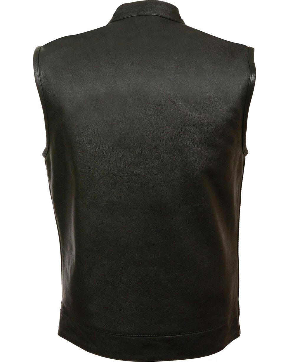 Milwaukee Leather Men's Open Neck Club Style Vest - 4X, Black, hi-res