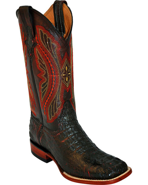 Ferrini Caiman Tail Blue Embroidered Cowboy Boots - Square Toe, Black Cherry, hi-res
