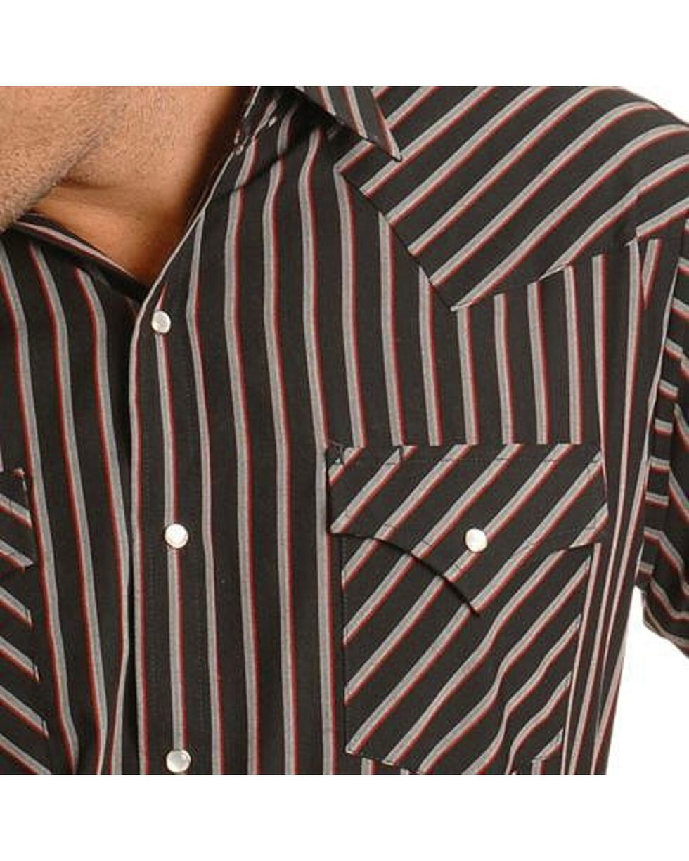 Ely Assorted Plaid or Stripe Short Sleeve Western Shirt, Stripe, hi-res