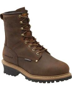 """Carolina Men's MetGuard Elm Int 8"""" Logger Boots - Steel Toe, Brown, hi-res"""
