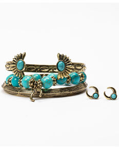 Shyanne Women's Crescent Bracelet Earring Set, Gold, hi-res