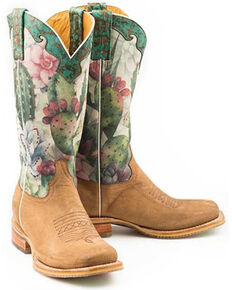 Tin Haul Women's On Point Western Boots - Wide Square Toe, Tan, hi-res