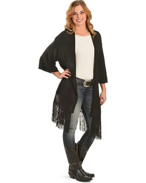 Red Ranch Women's Black Fringe Cardigan, Black, hi-res