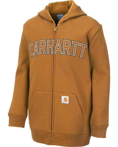 Carhartt Youth Logo Fleece Zip Sweatshirt, Brown, hi-res