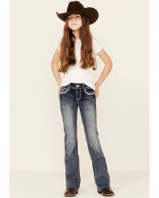 Grace In LA Girls' Dark Wash Embroidered Swoosh Pocket Bootcut Jeans , Blue, hi-res