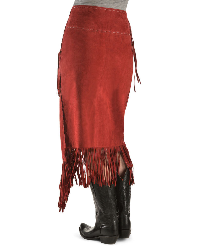 Scully Suede Leather Fringe Skirt, Red, hi-res
