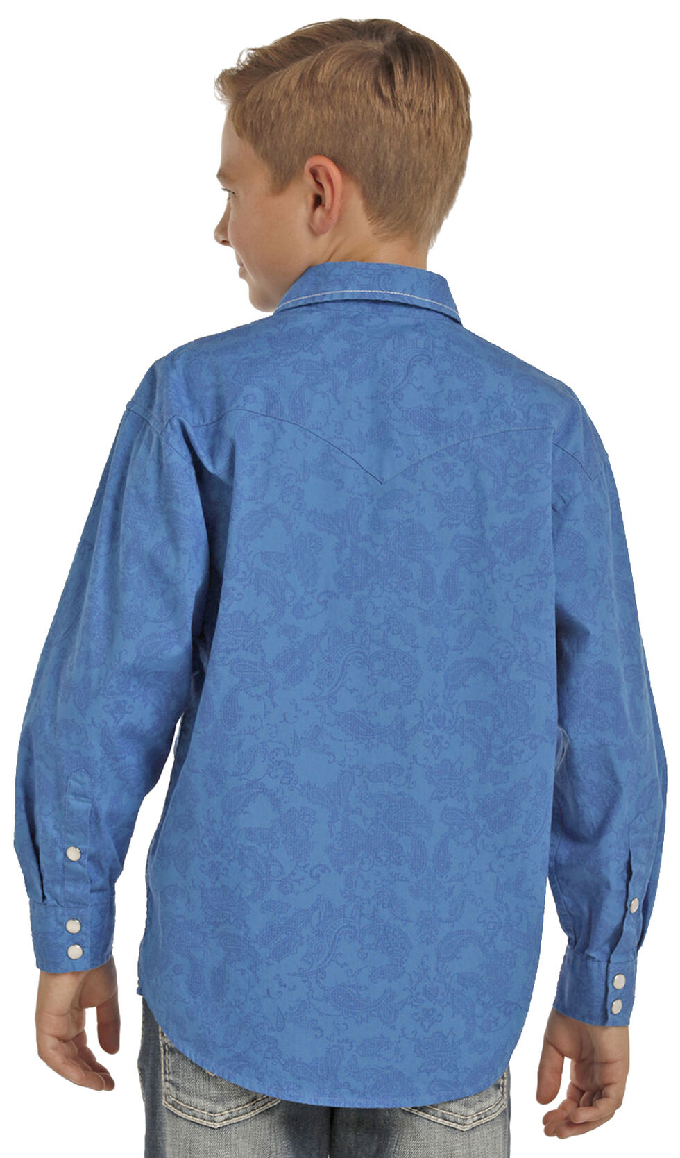 Rock & Roll Cowboy Boys' Blue Paisley Print Long Sleeve Shirt , Blue, hi-res
