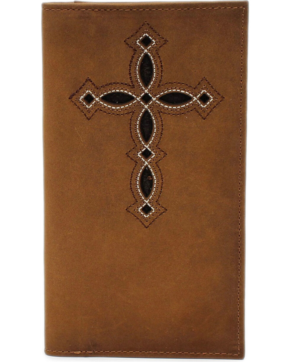 Ariat Rodeo Wallet with Pierced Cross, Medium Brown, hi-res