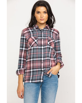 Derek Heart Women's Plaid Flannel Tunic , Pink, hi-res