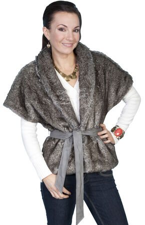 Scully Faux Fur Cropped Shawl Jacket, Gunmetal, hi-res