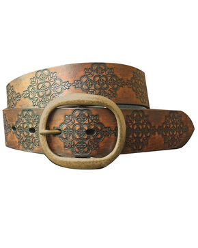 Roper Women's Brown Embossed Buffalo Leather Belt , Brown, hi-res