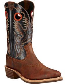 Ariat Heritage Roughstock Mahogany Cowboy Boots - Square Toe, Mahogany, hi-res