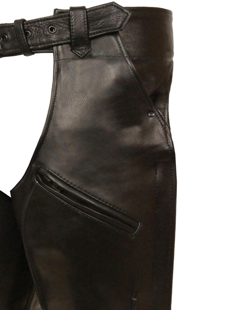 Milwaukee Leather Men's 3 Pocket Leather Chaps - 5X, Black, hi-res