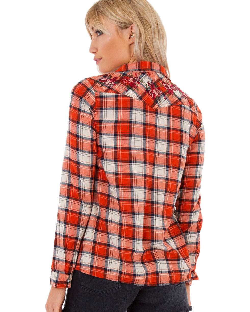 White Crow Women's Copper Plaid Western Shirt , Rust Copper, hi-res