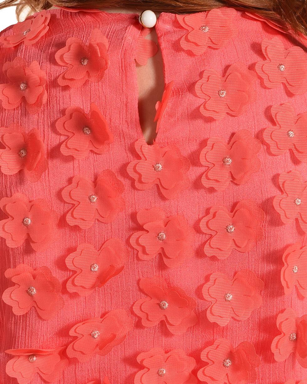 Idol Mind Girls' Floral Applique Dress, Coral, hi-res