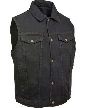 Milwaukee Leather Men's Snap Front Denim Vest w/ Shirt Collar , Black, hi-res