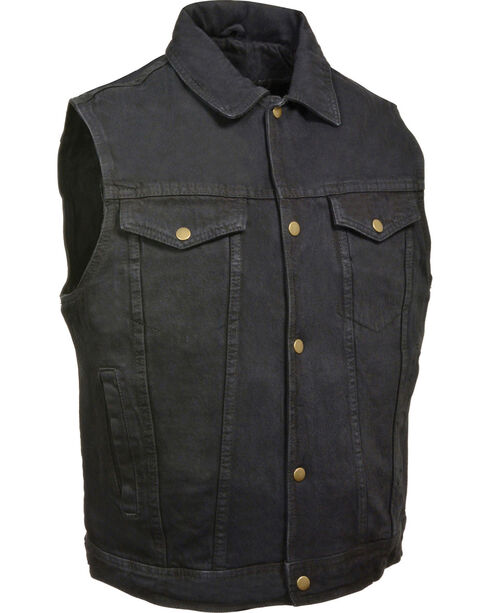 Milwaukee Leather Men's Snap Front Denim Vest w/ Shirt Collar- Big - 5X, , hi-res