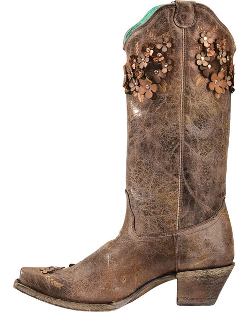 Corral Women's Tobacco Floral Overlay Embroidered Stud and Crystals Cowgirl Boots - Snip Toe, Brown, hi-res