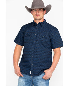 Moonshine Spirit Men's Maya Aztec Print Short Sleeve Western Shirt , Navy, hi-res