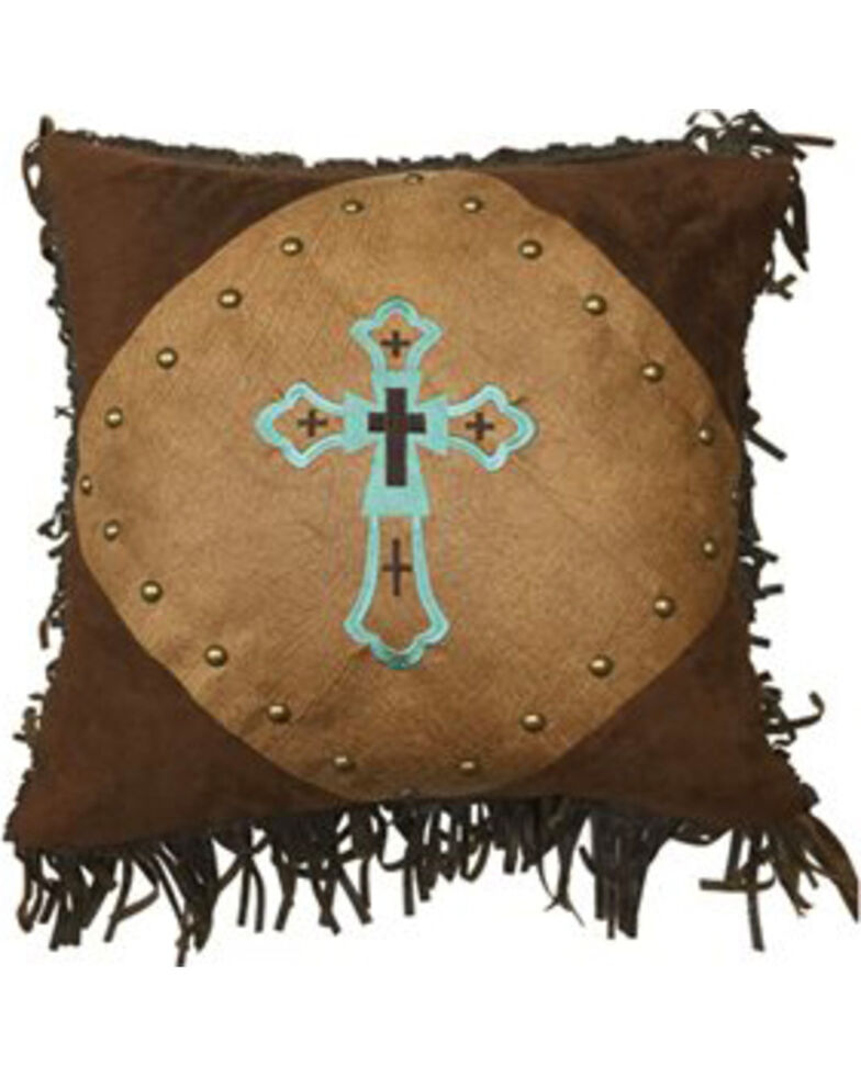 HiEnd Accents Embroidered Turquoise Cross Pillow, Multi, hi-res