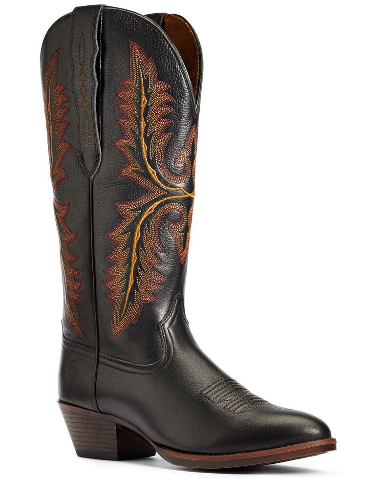 Ariat Women's Heritage Elastic Calf Western Boots - Round Toe, Black, hi-res