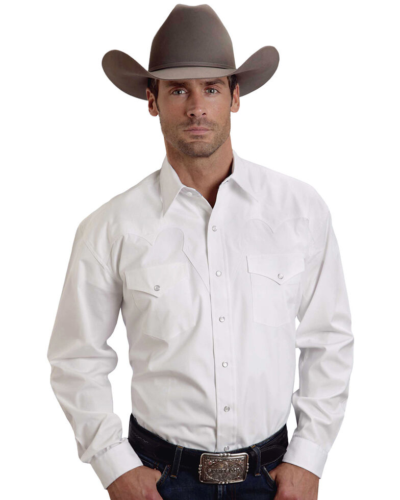 Stetson Men's White Solid Long Sleeve Western Shirt , White, hi-res