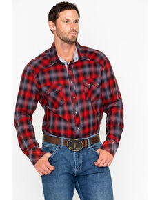 Rock & Roll Denim Men's Yarn Dye Satin Plaid Long Sleeve Western Shirt , Red, hi-res