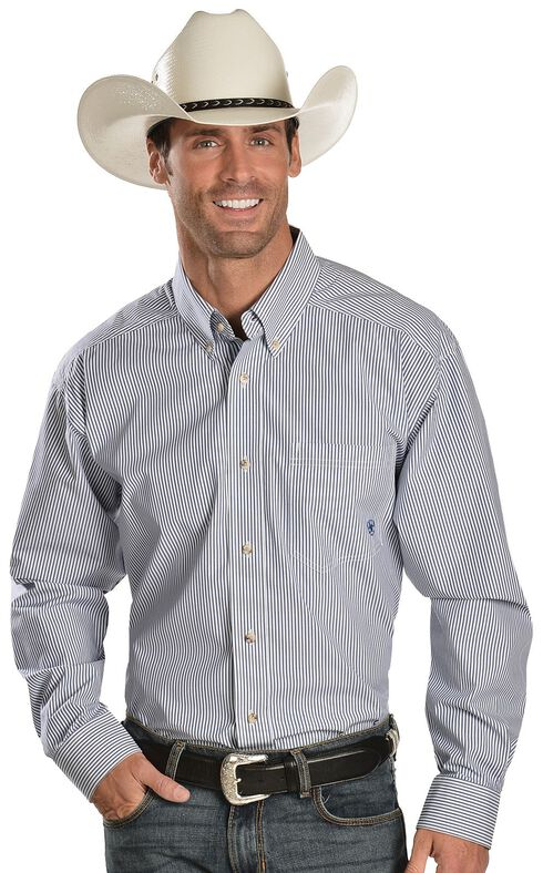 Ariat Balin Blue Stripe Long Sleeve Shirt - Big & Tall, Light Blue, hi-res