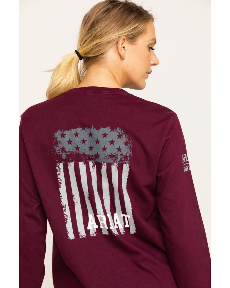 Ariat Women's FR Wine Americana Graphic Long Sleeve Work Tee , Burgundy, hi-res