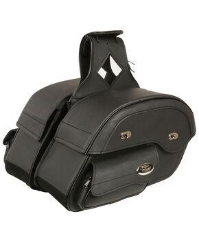 Milwaukee Leather Black Large Cruiser Slant Pouch Saddle Bag , Black, hi-res